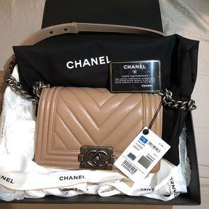 100% NEW RARE Chanel small boy chevron dark beige